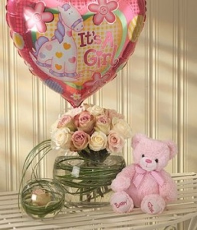 Mother & Baby Girl Balloon Teddy