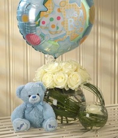 Mother & Baby Boy Balloon Teddy