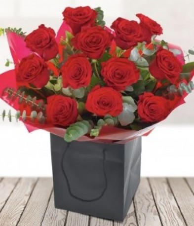 12 Red Roses with Foilage