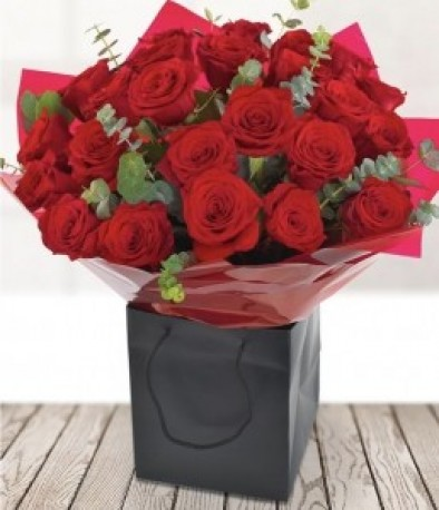 24 Red Roses with Foilage