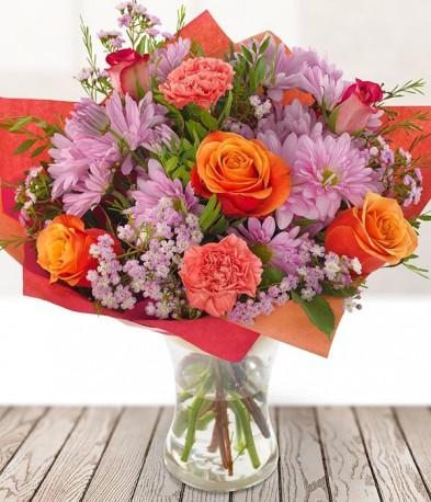 Orange Roses And Daisies
