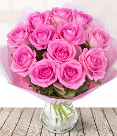 Just 12 Pink Roses