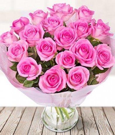 Just 18 Pink Roses