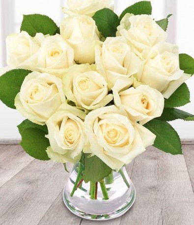Just 12 White Roses