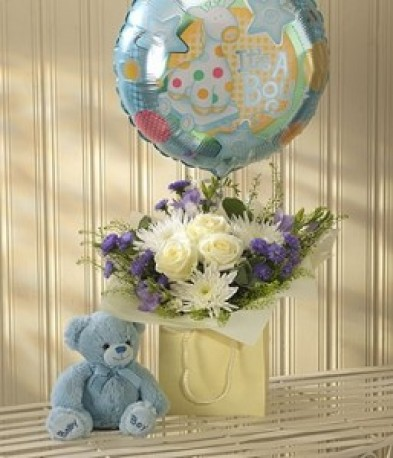 Blue Lullaby Balloon Teddy