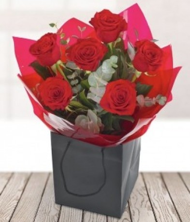 6 Red Roses with Foilage